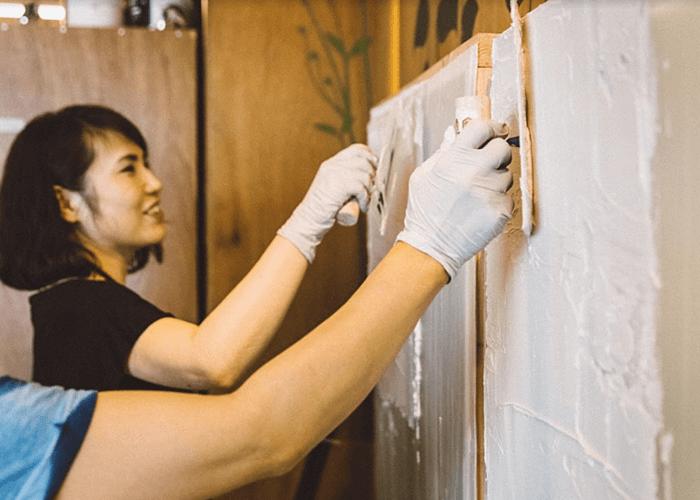 漆喰塗りレッスン写真